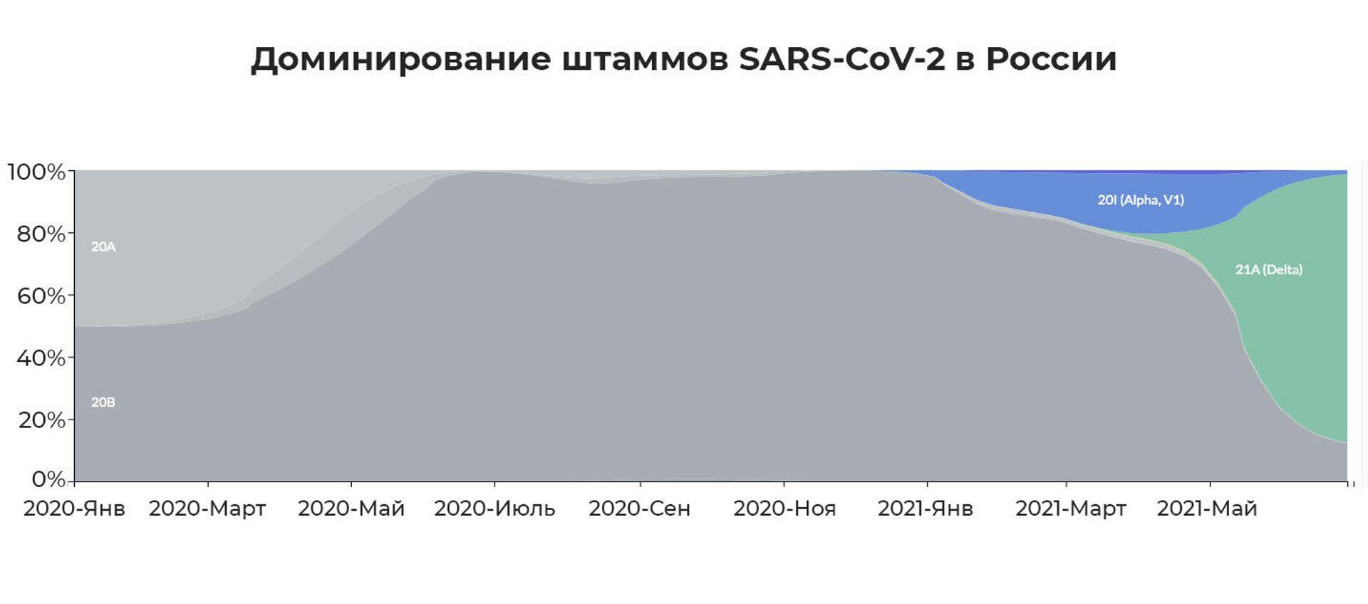Доминирование штаммов SARS-CoV-2 в России с мая 2020 по июнь 2021 - РИА Новости, 1920, 16.07.2021
