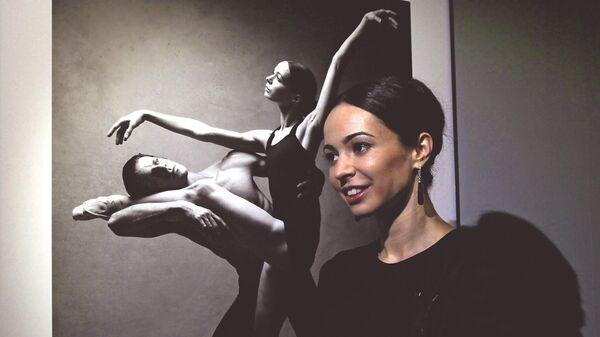 Прима-балерина Диана Вишнёва на открытии выставки Диана Вишнева в объективе Патрика Демаршелье в Мультимедиа Арт Музее в Москве