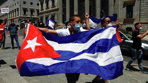 Акция протеста в поддержку Кубы в Мадриде