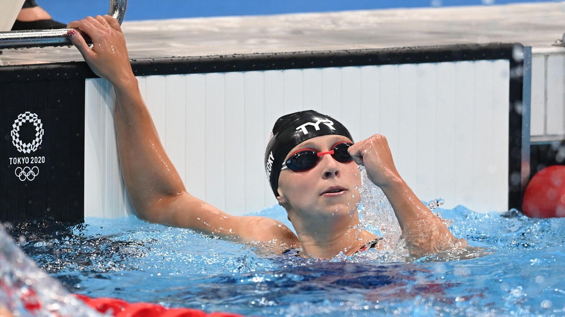 Кэти Ледеки (США) после финиша в финальном заплыве на 200 метров фристайлом среди женщин на XXXII летних Олимпийских играх. - РИА Новости, 1920, 28.07.2021