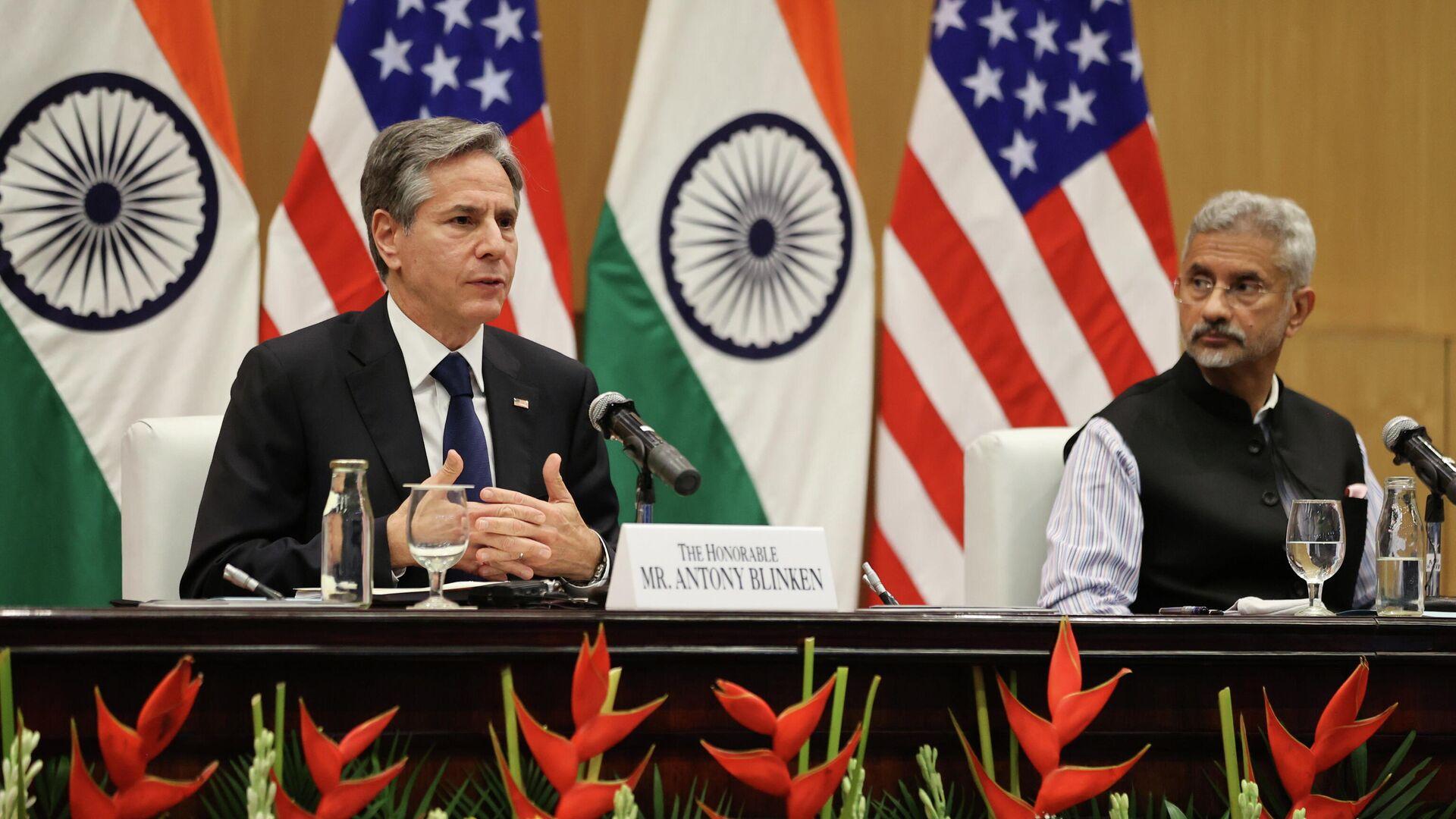 Госсекретарь США Энтони Блинкен и министр иностранных дел Индии Субраманьям Джайшанкар во время пресс-конференцию в Нью-Дели - РИА Новости, 1920, 31.07.2021