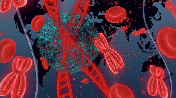 Молекула ДНК человека с коронавирусом на фоне карты мира