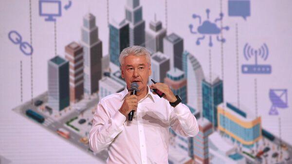 Мэр Москвы Сергей Собянин выступает во время II федерального просветительского марафона Новое знание в Экспоцентре на Красной Пресне Москве