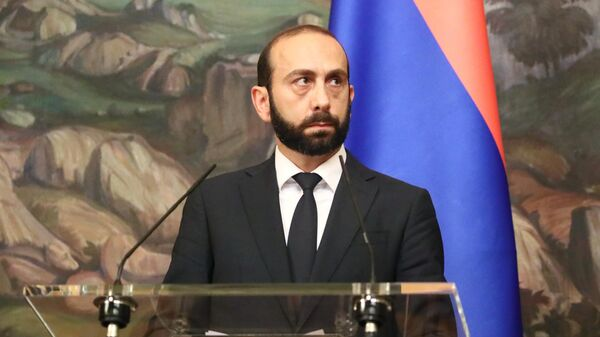 Министр иностранных дел Армении Арарат Мирзоян во время пресс-подхода в Москве