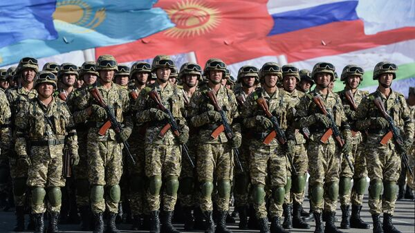 Военнослужащие вооруженных сил Киргизии на совместных учениях ОДКБ Рубеж-2021 в Киргизии