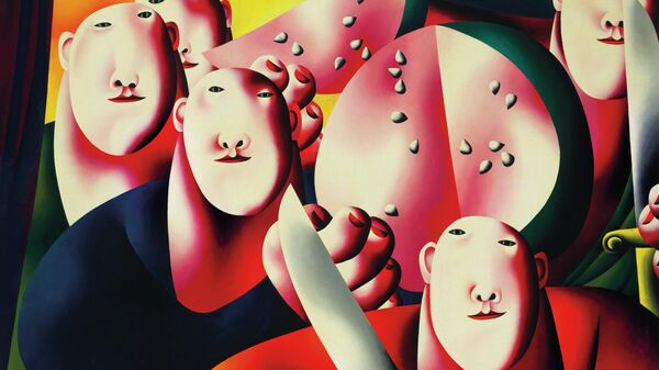 Работа Олега Целкова Групповой портрет с арбузом. Выставка Я не здешний, я чужой