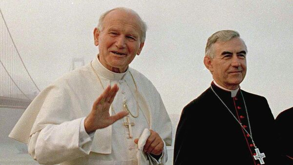 Папа Иоанн Павел II и кардинал Агостино Казароли в Сан-Франциско