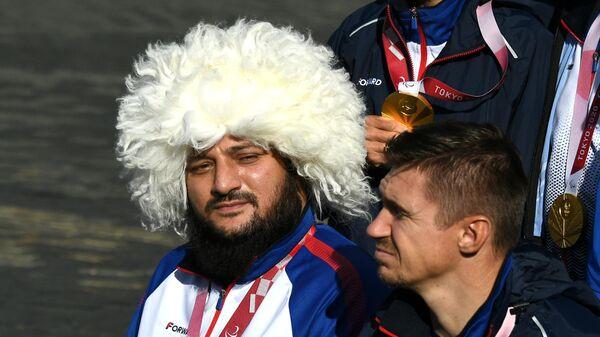 Российский спортсмен, члены сборной России (команда ПКР) Муса Таймазов на концерте в честь паралимпийской сборной России на Красной площади в Москве.
