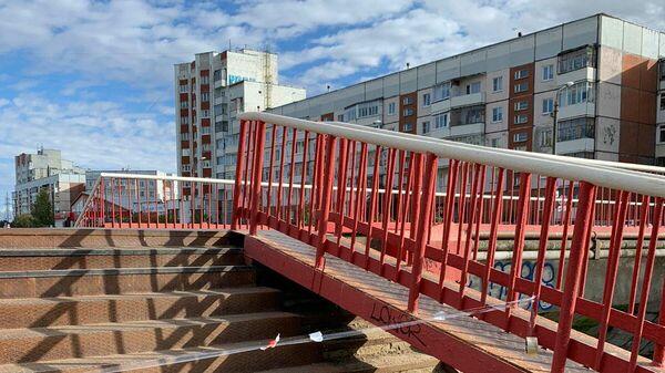Мост по улице Лебедева в городе Северодвинске,  где был обнаружен подросток с ножевыми ранениями