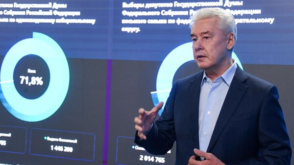 Мэр Москвы Сергей Собянин в общественном штабе по наблюдению за выборами в Москве