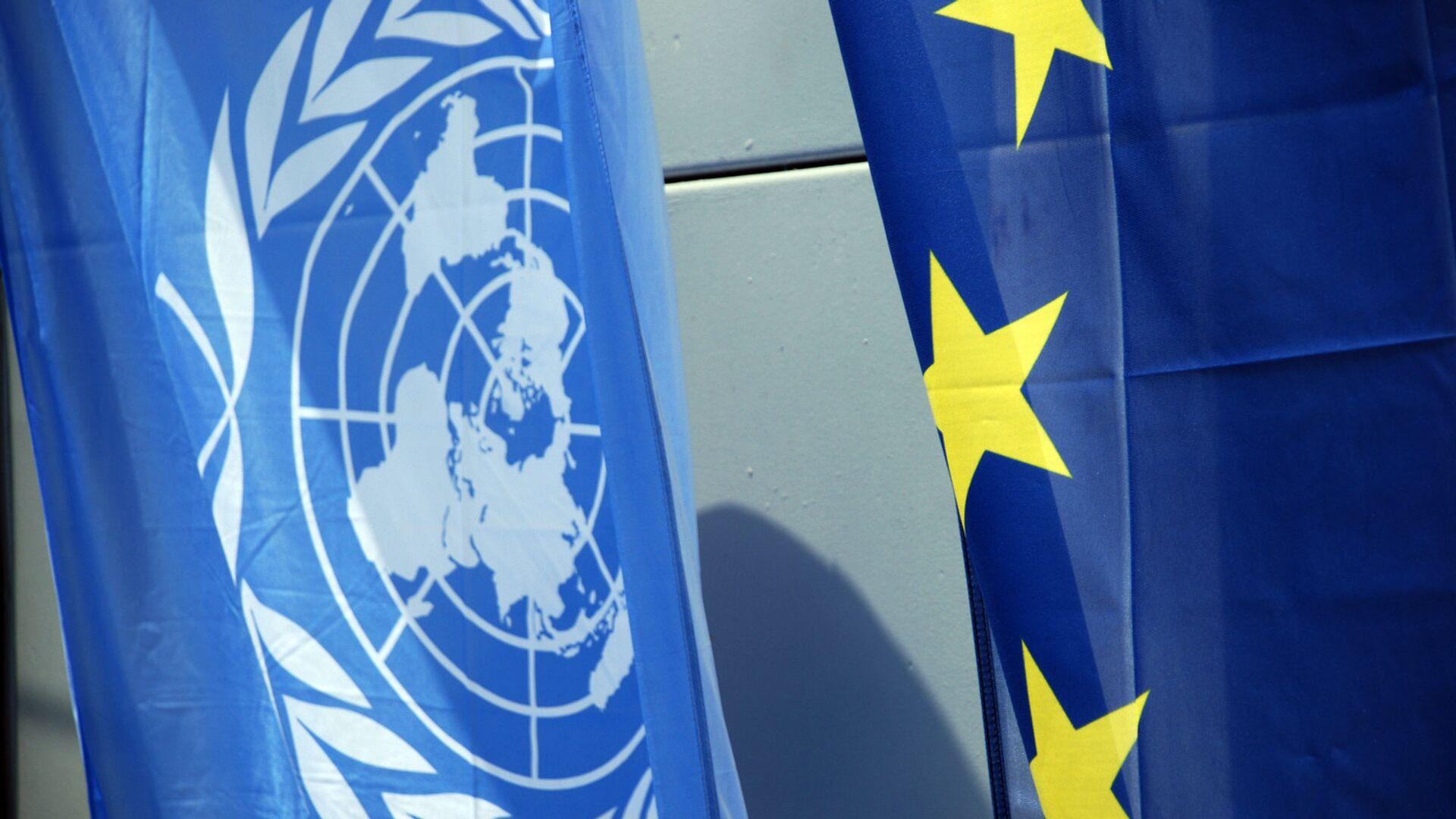 Флаги Евросоюза и НАТО - РИА Новости, 1920, 31.05.2021