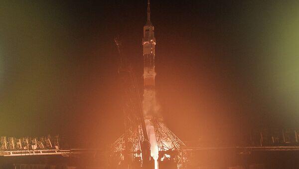 Старт пилотируемого корабля Союз ТМА-12М с космодрома Байконур