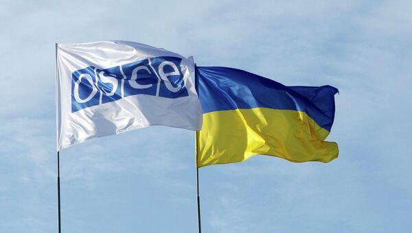 Флаги ОБСЕ и Украины. Архив
