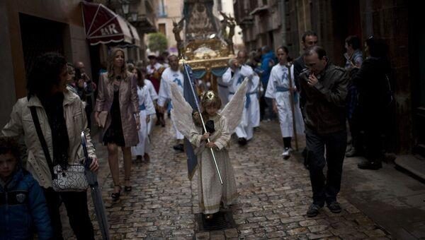 Празднование Пасхи в маленьком городке Туделы на севере Испании
