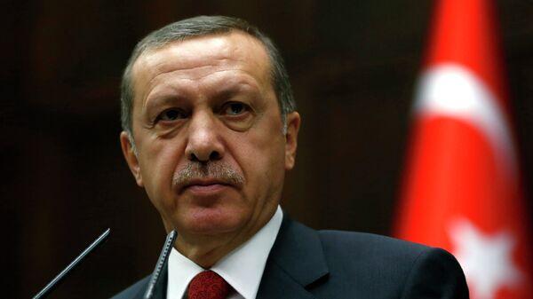 Премьер-министр Турции Тайип Эрдоган на заседании парламента в Анкаре
