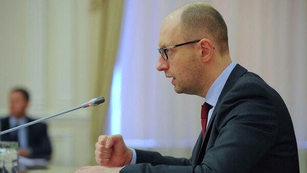 Назначенный Радой премьером Украины Арсений Яценюк на совещании в Киеве. 25 апреля 2014