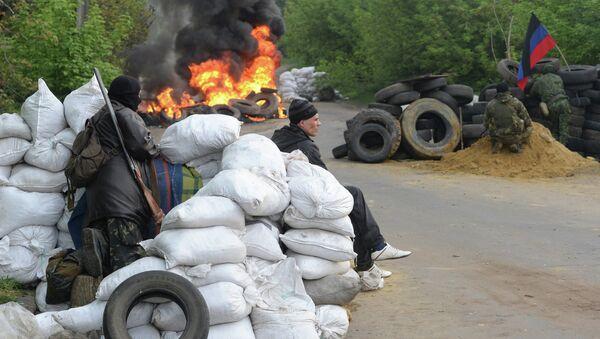 Блокпост при въезде в Славянск. Архивное фото