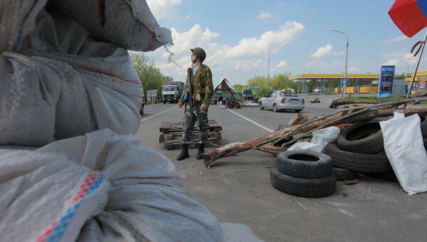 Блокпост при въезде в Луганск