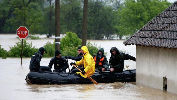 Наводнение в городе Лазаревац, Сербия