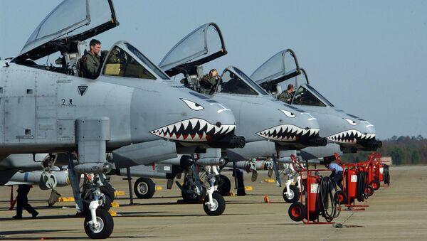 Самолет ВВС США A-10 Thunderbolt II на авиабазе в Шау