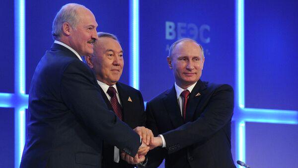 Президенты Белоруссии, Казахстана и России, архивное фото