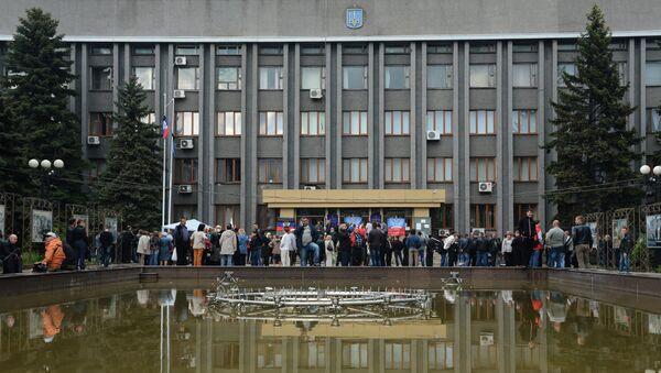 Здание Макеевского городского совета Донецкой области. Архивное фото
