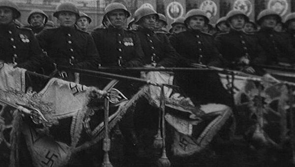 Первый Парад победителей на Красной площади в Москве. Съемки 1945 года