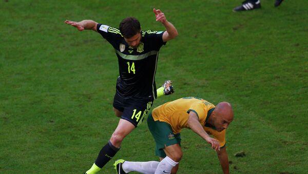 Матч между сборными Испании и Австралии на Чемпионате мира по футболу 2014