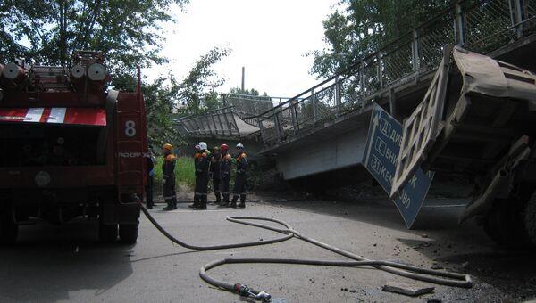 Обрушение пешеходного перехода в Красноярске