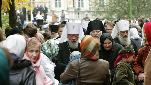 Митрополит Киевский и всея Украины Владимир (крайний слева) во время закрытия Архиерейского Собора