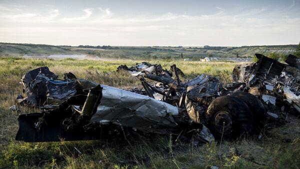 Обломки самолета Ан-26 вооруженных сил Украины, сбитого бойцами народного ополчения, неподалеку от села Давыдо-Никольское Луганской области.