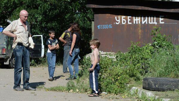 Вход в бомбоубежище в Горловке Донецкой области. Архивное фото