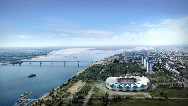 Макет стадиона Центральный в Волгограде к ЧМ по футболу 2018 года. Архивное фото