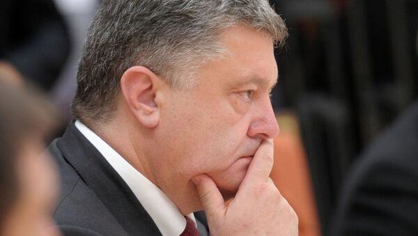 Президент Украины Петр Порошенко на встрече в Минске