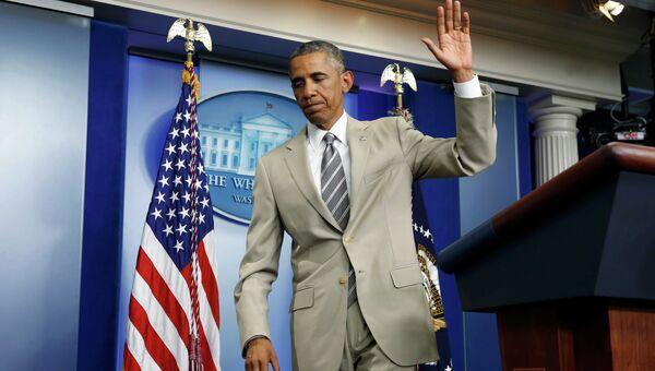 Президент США Барак Обама на пресс-конференции в Белом доме. Архивное фото