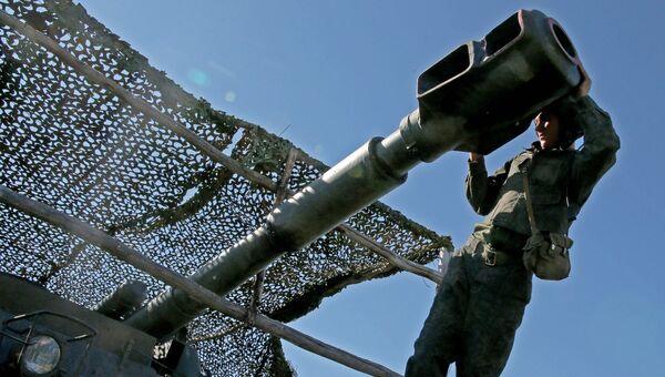 Боевые учения самоходных артиллерийских установок (САУ) Акация. Архивное фото
