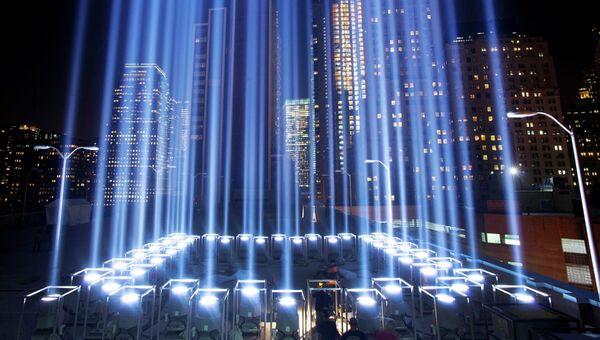 Световая инсталляция Посвящение в свете на участке Граунд-Зиро в Нью-Йорке, архивное фото