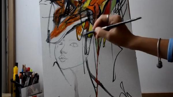 Семейное творчество: мама и дочка вместе рисуют картины