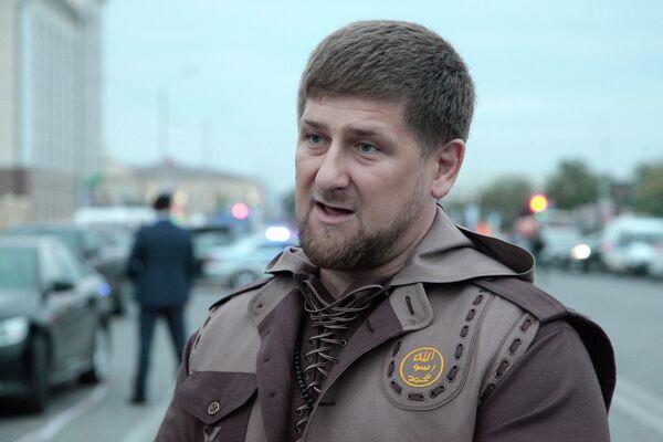 Глава Чечни Рамзан Кадыров на месте взрыва в Грозном