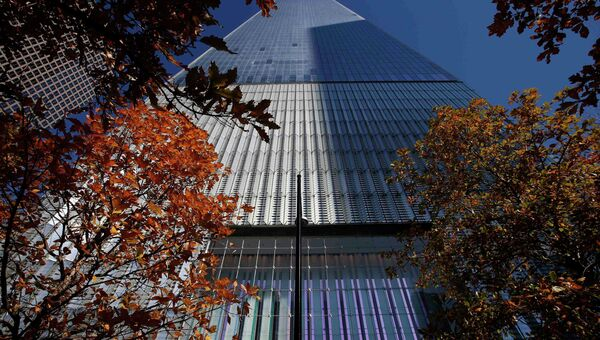 Небоскреб Freedom Tower, построенный на месте Всемирного торгового центра в Нью-Йорке