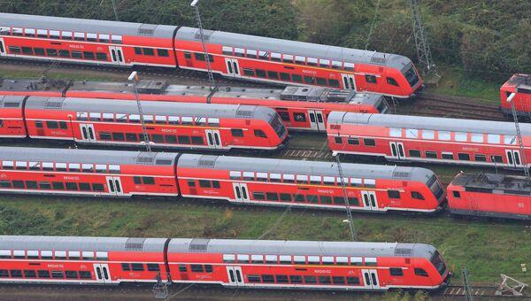 Пустые поезда на центральном вокзале Магдебурга во время забастовки машинистов