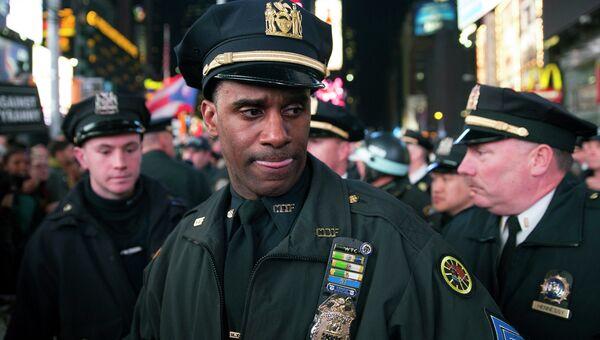 Полицейские на площади Таймс-Сквер в Нью-Йорке во время демонстрации. Архивное фото.