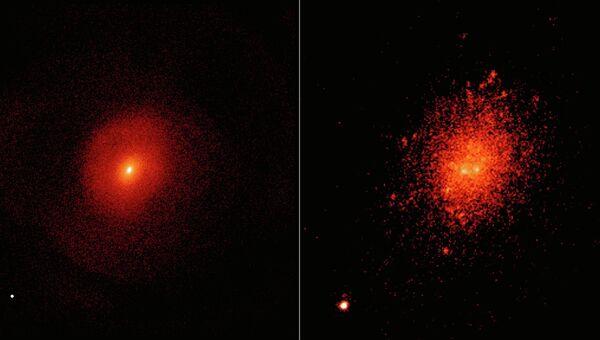 Моделирование столкновения двух галактик. Слева показано, как их объединеные сверхмассивные черные дыры могут образовать огромную черную дыру (точка в нижнем левом углу) на широкой орбите.