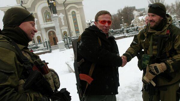 Российский актер Иван Охлобыстин с ополченцами ДНР. Архивное фото