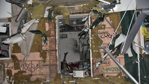 Разрушенное в результате взрыва здание офиса общественной организации Волонтерская сотня Далии Северин в Одессе