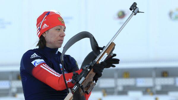 Российская биатлонистка Евгения Волкова. Архивное фото