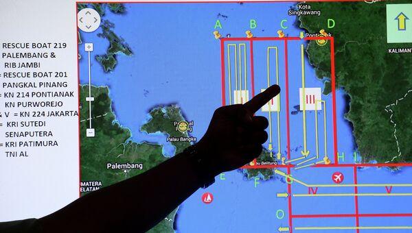 Карта поиска спасательной операции пропавшего рейса QZ8501 компании Air Asia. Индонезия, 29 декабря 2014