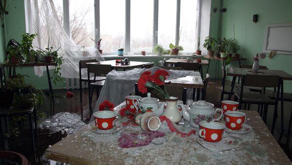 Столовая больницы в Донецке после обстрела украинской артиллерией. Архивное фото