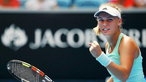 Датская теннисистка Каролин Возняцки радуется победе над американкой Тэйлор Таунсенд в матче стартового раунда Открытого чемпионата Австралии по теннису. Мельбурн, 20 января 2015