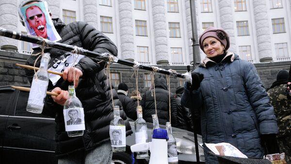 Акция протеста в Киеве против приватизации стратегических предприятий Украины